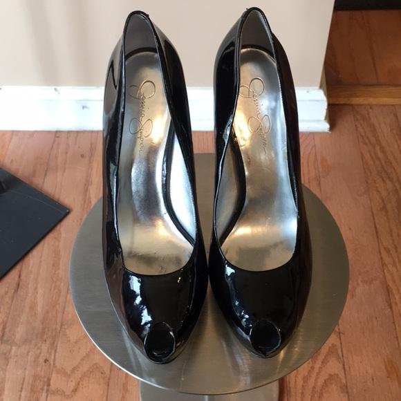 Black Patent Leather Peep Toe Shoe